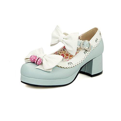 Odomolor Damen Gemischte Farbe Schnalle Weiches Material Quadratisch Zehe Pumps Schuhe, Pink, 42