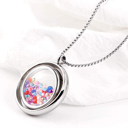 RoyAroma Floating Round Charms Locket Pendant Necklace 316L Stainless Steel Toughened Glass with Zircons Rotatable Locket Necklace, Unique Floating Locket Design