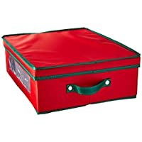 Esenciales para el hogar 538RED Cofre de almacenamiento de vajillas de China para vacaciones   Tapa extraíble   Lona roja con ribete verde