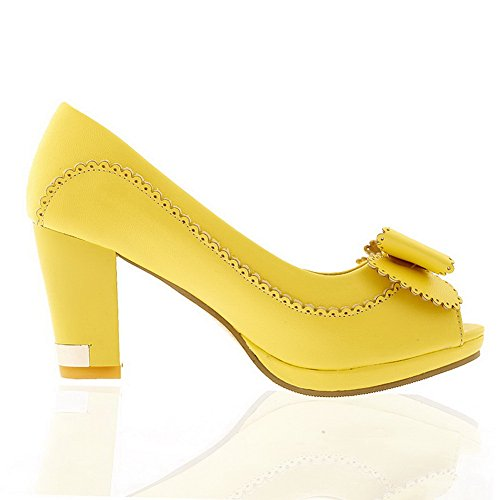 Amoonyfashion Donna Open Peep Toe Tacco Alto Grosso Materiale Morbido Pu Pompe Solide Con Bowknot, Giallo, 8,5 B (m) Us