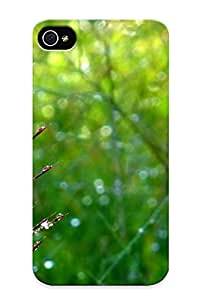 Flexible Tpu Back Case Cover For Iphone 4/4s - Dew Drops On A Plant