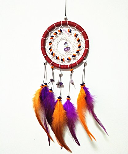 CHICIEVE Car Dream Catcher, Handmade Car Wall Hanging Decoration Bead Ornament with Feathers Pendant ~Diameter 4.3