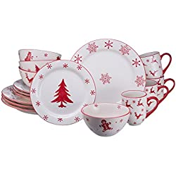 Euro Ceramica Winterfest Collection Festive 16 Piece Ceramic Dinnerware Set, Assorted Hand-Stamped Holiday Designs, Red & White