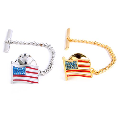 America Flag Silver&Gold Toned Tie Tack Set