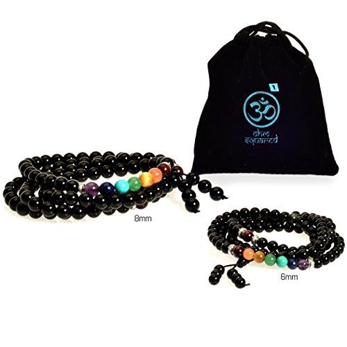 Mala Beads Tibetan Meditation Buddhist Genuine Black 108 Obsidian Healing Stones Tiger Eye Gemstone Wrist Bracelet / Bead Necklace - For Prayer, Yoga, Mantras, Reiki, Mudras, Energy Work (6mm, (Tibetan Gemstone)