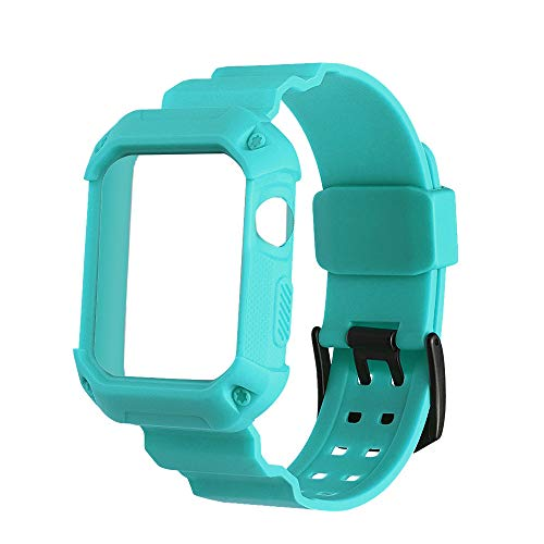 WEIJIJ Breathable Shockproof Rugged Protective Silicone Siamese Strap Frame Bumper Sports Rubber Replacement Watch Wrist Band Strap for Apple iwatch Series 1 2 3 38mm (Mint Green)