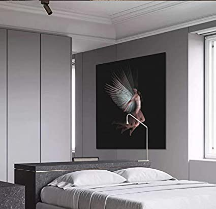 200X140CM, 3D Wallpaper - Black and White Angel Nude Beauty