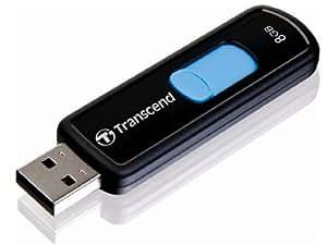 Transcend JetFlash 500 - Memoria USB 2.0 de 8 GB (15 MB/s), color azul