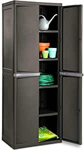 Lockable Storage Cabinet Outdoor 4 Shelf Organizer Yard Garden Garages Pantry Dorm Room Kitchen Adjustable Shelves 2 Doors Accent Cabinet Storage Shed Horizontal Durable (Grey)