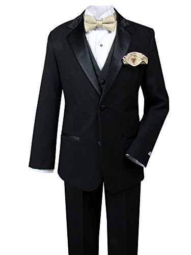 Spring Notion Little Boys' Tuxedo Set With Bow Tie and Handkerchief 6 (Boys Tuxedo Vest Champagne)