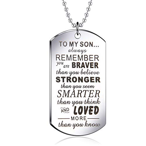danjie to My Son Tag Stainless Steel Pendant Always Remember You are Braver Than You Believe Letters Boys Necklace Military Chain Air Force Pendant