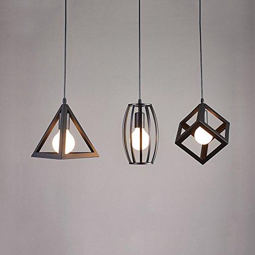 Square Hanging Lamp (American Modern Minimalist Geometric Triangle Cube Cylindrical Single/3 Head Iron Chandelier LOFT Retro Dining Room Bar Restaurant E27 Pendant Lamp Round/long Hanging Plate ( Design : D ))