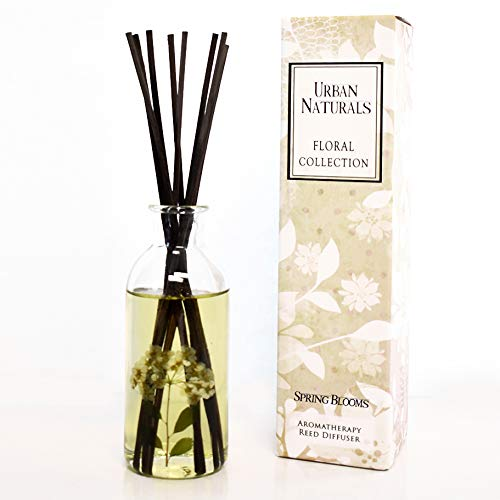 Urban Naturals Spring Blooms Scented Reed Diffuser Oil Set | Real Flowers in The Bottle! Bulgarian Rose, Egyptian Jasmine, Blue Orchid, Lily of The Valley, Amber | #1 Gift Idea!