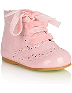 33d697dc5d0d36 Baby Toddler Patent Leather Spanish Lace Up Boots Cute Shoes (UK 5 Infant
