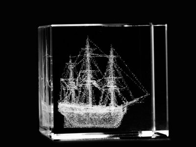 Asfour Crystal 1165-40-13 1.6 L x 1.6 H x 1.6 W in. Crystal Laser-Engraved Sailboat Sealife & Nautical Laser-Cut