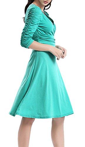 Cuello 3 Fiesta Mujer Dress Cóctel Turquesa DELEY 4 Manga Elegante Vestido Casual Retro V vBYvy7IOP