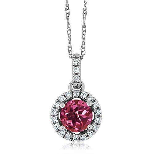 (Gem Stone King 14K White Gold Diamond Halo Pendant set with 0.61 Ct Round Pink Tourmaline)
