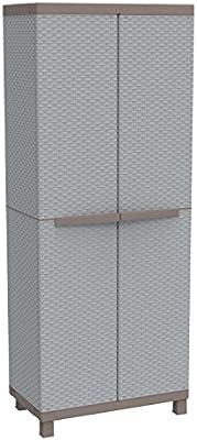 Terry C-Rattan 3680 Armario 2 Puertas con Divisor Vertical y 3 baldas. Capacidad máxima del Estante: 10 kg distribuidos de Forma Uniforme, Gris, 68x39x170 cm: Amazon.es: Bricolaje y herramientas