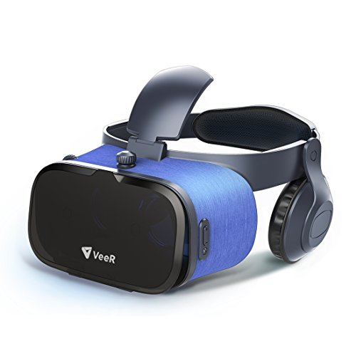 VeeR Oasis VR Headset, 3D Virtual Reality Goggles with HD Blue Glass Lens, Ultra Light Body, Compatible with 4-6.2 inches iOS/Android Smartphones, Stereo Headphones with Eye Protection Mechanisms