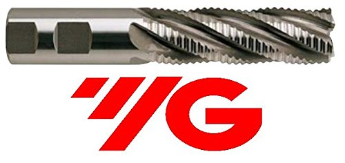 YG-1 60426 HSSCo8 Roughing End Mill, Multi Flute, Regular Length, Coarse Pitch, Uncoated Finish, 4-1/2' Length, 1'