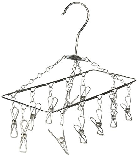 Honey-Can-Do DRY-01102 Clothes Drying Hanger Rack with 12 Clips, Chrome