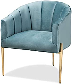 Amazon Com Baxton Studio Clarisse Light Blue Velvet Gold Finished
