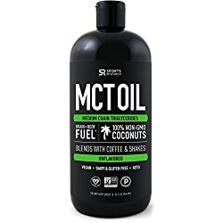Premium MCT Oil derived only from Non-GMO Coconuts - 32oz BPA free bottle   Great in Keto Coffee,Tea, Smoothies & Salad Dressings   Non-GMO Project Veified & Vegan Certified (Unflavored)