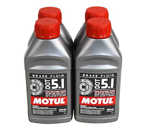 (Motul (4 Pack) 100950 100% Synthetic Brake Dot 5.1 Brake Fluid 1/2 Liter or 500 ml)