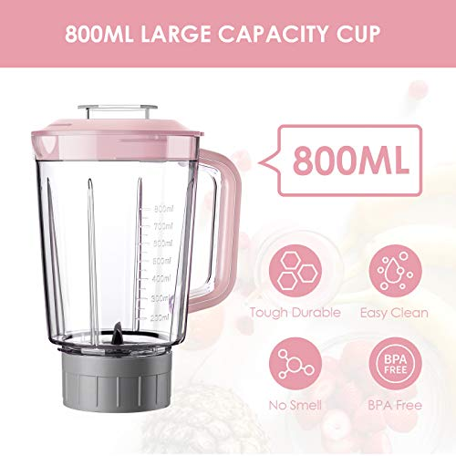 REDMOND Personal Blender for Shakes and Smoothies, Small Countertop Blender with 4 Sharp Blades, Smoothie Blender with 27 oz, 300W High-Speed Power,BPA-Free, Pink