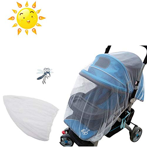 Cloudro Mosquito Net,Full Cover Mosquito Net for Baby Strollers Safe Infant Carriers (White)
