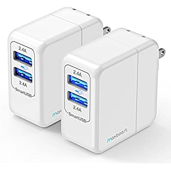 Maxboost 2-Pack USB Wall Charger 24W 4.8A Dual USB Port Adapter w/ mSmart Technology, Portable Foldable Plug for iPhone 7 6 6s Plus, SE, iPad Pro / Mini, Galaxy S8/S7,Note 8, HTC, LG, Nintendo Switch