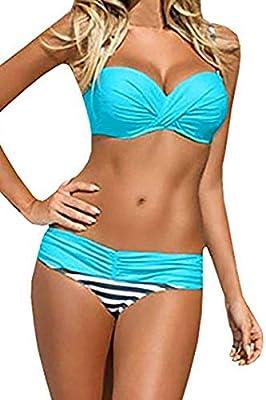 EVALESS Womens Sexy Two Piece Bandeau Bikini Swimsuits Triangle Bathing Suits Swimwear Blue Small 4 6