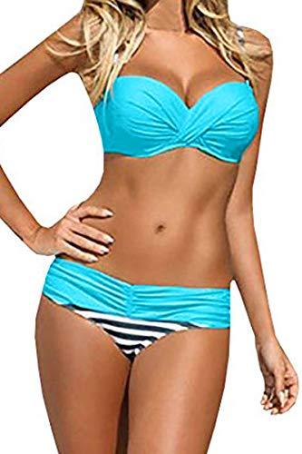 - EVALESS Womens Sexy Two Piece Bandeau Bikini Swimsuits Triangle Bathing Suits Swimwear Blue Large 12 14