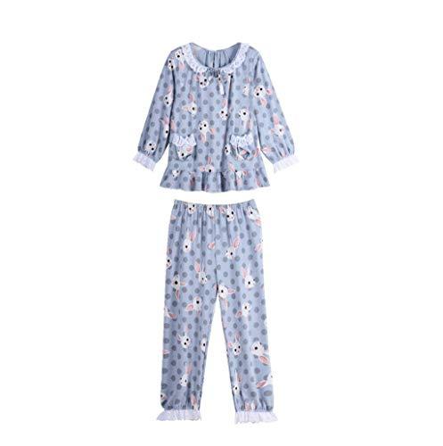 Primavera Impresión Mujer Blau Pantalones Manga Hogar Otoño Modernas Conjunto Ropa Moda Conejo Cuello Pijamas Casuales Anchos Casual Larga Redondo Pijama De Sleepwear Para El r77wIqF