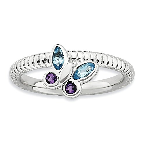 (925 Sterling Silver Purple Amethyst Blue Topaz Butterfly Band Ring Size 8.00 Stone Stackable Birthstone Gemstone February December Multiple Fine Jewelry Gifts For Women For Her)