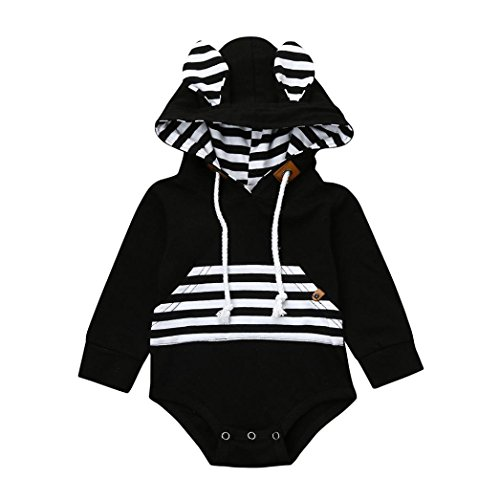 Dreammimi Baby Romper Jumpsuit Baby Boys Striped Hoodies Romper Overalls Bodysuits Toddler Clothes Baby Sleeper Pajamas Fashion Hoodies & Sweatshirts Clothing (Black, 80CM 6Months)