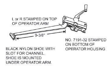 9-3/8'' Andersen Right Hand Casement Stone Operator Assembly