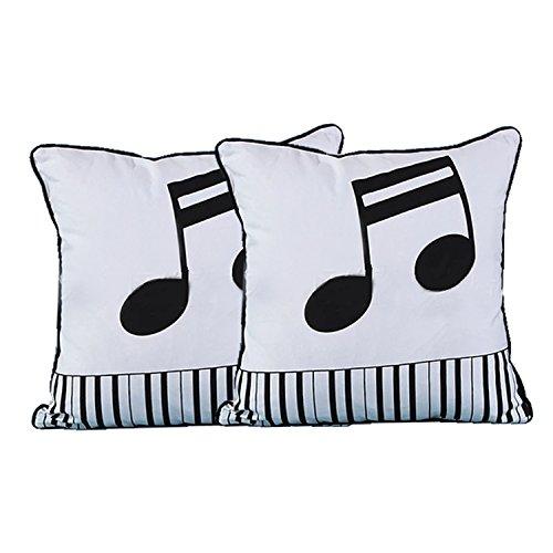 Queenie® - 2 Pcs Black & White Cotton Canvas Pillowcase Cushion Cover Throw Pillow Case 18 X 18 Inch 45 X 45 Cm, Set of 2 (Musical Note)