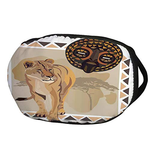 Fashion Cotton Antidust Face Mouth Mask,Safari,Tiger with African Tribal Icon Ethnic Patterns Wild Nature Art Illustration,Cream Beige Brown,for women & ()
