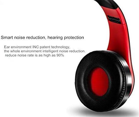 Stereo oortelefoon bluetooth hoofdtelefoon muziek headset FM en ondersteuning SD-kaart met microfoon for mobiele Xiaomi Iphone Sumsamg Tablet (Color : Black blue)