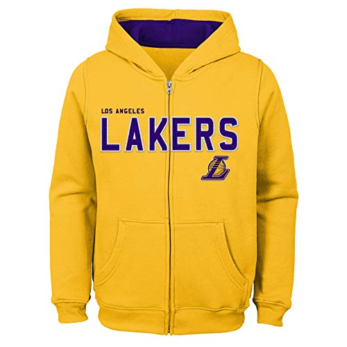 Outerstuff NBA NBA Kids & Youth Boys Los Angeles Lakers Stated Full Zip Fleece Hoodie, Bright Yellow, Youth Medium(10-12) ()