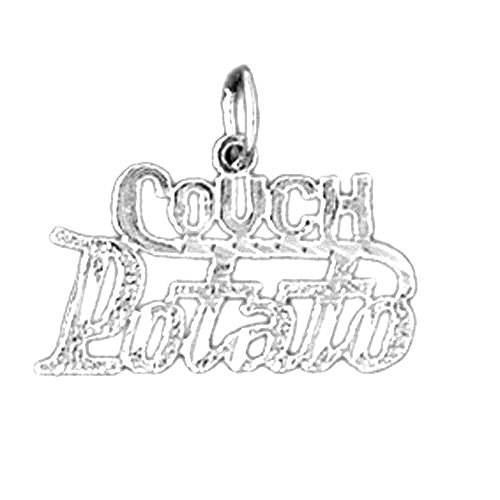 Jewels Obsession Couch Potato Saying Charm Pendant | 14K White Gold Couch Potato Saying Pendant - 16 mm