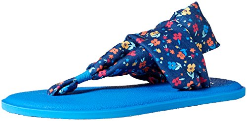 Sanuk Kids Girls' Yoga Sling Burst Floral Flip-Flop, Navy Multi, 04/05 M US Big Kid ()