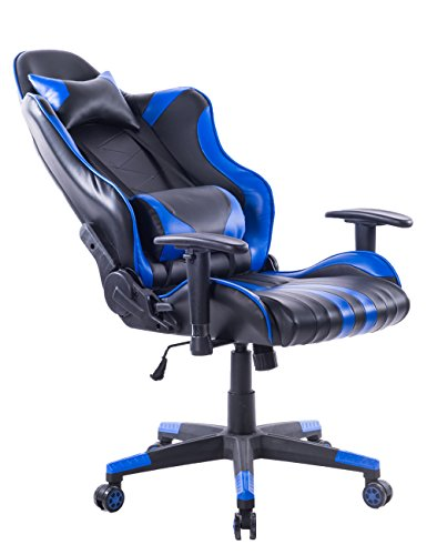 Killbee Large Size PVC Ergonomic Reclining Racing Chair Executive Office Chair with Headrest and Lumbar Support (Blue) by Killbee (Image #7)