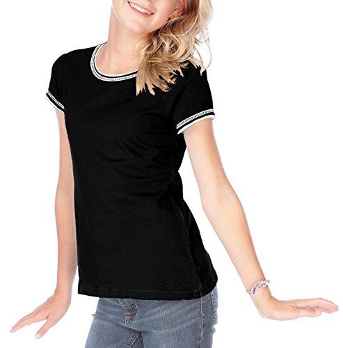 Kavio! Big Girls 7-16 Contrast Rolling Raw Edge Short Sleeve Black/White (Girls Raw Edge)