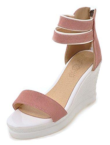 Sandali Con Zeppa Donna Aisun Con Cinturino Alla Caviglia Con Cerniera - Scarpe Con Plateau Aperte - Comfort Tacco Alto Rosa