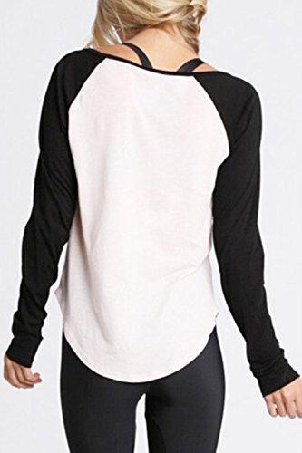 Las Mujeres Casual Camiseta Manga Larga Blusas Colorblock Patchwork Vieira White