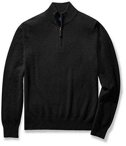 BUTTONED DOWN Men's Cashmere Quarter-Zip Sweater, Black, Small (Sweater Quarter Cashmere Zip)