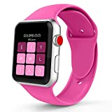 iYou Sport Band for Apple Watch Band, Soft Silicone Replacement Wristband Classic Sport Strap for iWatch 2017 Apple Watch Series 3/2/1, Edition, Nike+, All Models (38MM S/M, Barbie Pink)