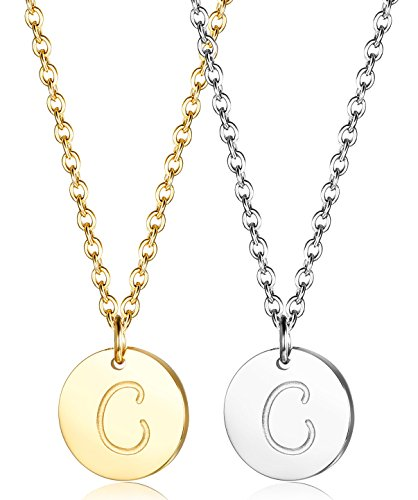 - LOLIAS 2 Pcs Stainless Steel Disc Initial Necklace for Women Girls Script Initial Pendant Necklace Set C,16''+2''